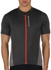 Dare2B Comeback II Mens Cycling Jersey Grey Short Sleeve Full Zip Bike Cycle Top