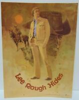 Vtg 1970s LEE JEANS ROUGH HIDES COWBOY COW ADVERTISING SIGN STORE DISPLAY USA US
