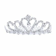 Flower Rhinestone Bridal Tiara w/ Comb Pin for Wedding/Prom AD