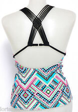 Hula Honey Extra Small Black Geometric Macrame Back Tankini Swimsuit Top XS NWT