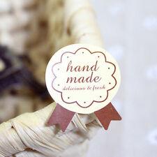 "60pcs ""Hand Made"" Craft Kraft Seal Sticker Label Cupcake Party Gift Bag Box"