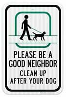 """Clean up After Your Dog Sign - Dog Poop Signs 12""""x18"""" - 0.80 Reflective Aluminum"""