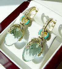 SALE ! RUSSIAN AQUAMARINE  made of STERLING SILVER 925  EARRINGS with ENAMEL 24K