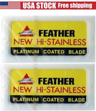 20 FEATHER Hi-Stainless Platinum Double Edge Safety Razor Blades 2 Packs of 10 B