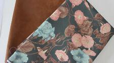 Stoffpaket 2 x 50 x 140 Canvas Blume  +Wildlederimitat braun