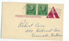 U22 USA postcard Massena NY to Cornwall On Canada Triangle shape stamp