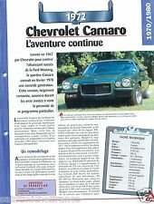 Chevrolet Camaro Coupe V8 1972 USA Car Auto Retro FICHE FRANCE