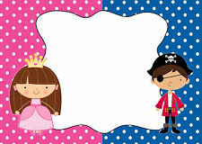 30 Cards Pirate Princess Blank Invitations Thank You Note Kids Birthday Party A1