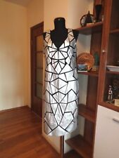 JOSEPH RIBKOFF BLACK/SILVER STRETCH JERSEY FAUX LEATHER PATCHES DRESS-14US