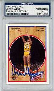 Jerry West Signed 1992 Upper Deck Basketball Heroes Card 6/9 PSA Slab 32898
