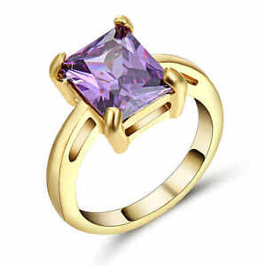 Fashion Jewelry Womans (purple)Amethyst yellow 10K Gold Ring Men Wedding Ring