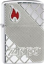 Zippo Armor Deep Cut Lighter With Red Enamel Flame, 29098, New In Box