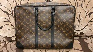 Auth LOUIS VUITTON Porte Documents Voyage Briefcase Bag Macassar M40225