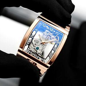 Mens Rose Gold Bridge Manual Mechanical Watch - Black Leather DIASTERIA 1688B