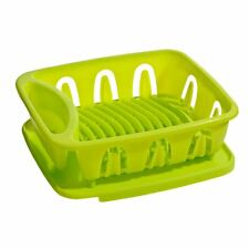 Dish Drainer, Lime Green Plastic, Removable Tray For Kitchen