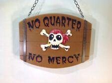 "Vtg. Man Cave Or Statement Sign Skull & Cross Bones ""No Quarter, No Mercy"" 10""w"