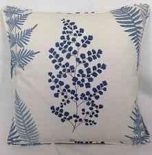 """Sanderson Cushion Cover Angel Ferns 100% Cotton Indigo Blue Maycott 16"""" x 16"""""""