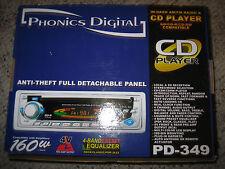 Phonics Digital PD-349 In-Dash AM/FM Radio & CD/CD-R/CD-RW Player - New in Box!!
