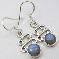 """925 Sterling Silver High End LABRADORITE ANTIQUE LOOK Earrings 1.3"""" NEW ITEM"""