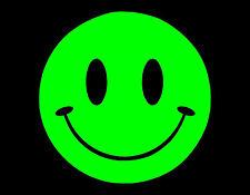 "SMILEY FACE VINYL WINDOW DECAL 4""X4"" NEON SMILE HAPPY"