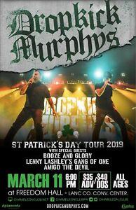DROPKICK MURPHYS 2019 LANCASTER, PA CONCERT TOUR POSTER - Ska & Hard Rock Music