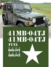 04 US ARMY JEEP WRANGLER MILITARY WILLYS DECALS STICKER KIT OEM SET TJ YJ CJ JK