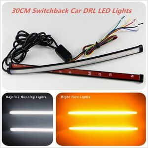2x 30CM Dual Color Switchback LED Strip For Auto Headlight DRL&Turn Signal Light