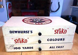 Vintage Dewhurst's Sylko Cabinet Draws Wooden Reels Cotton Thread Shop Display