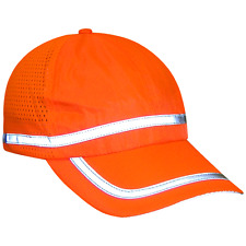 Hi Visibility orange baseball cap w/reflective striping, P/N# GLO-R1