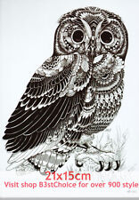 UK 21X15CM Feather beautiful owl Half Sleeve Temporary Tattoo ARM BACK