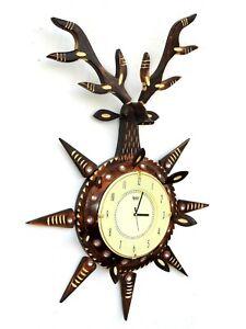 """Wooden Wall Clock Wood Craft Art Hand Crafted Deer shape Handicraft 10"""" Dial"""