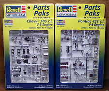 2 V-8 ENGINE MODEL KITS 1/25 CHEVY 283 & PONTIAC 421 REVELL NO LONGER MADE MINT