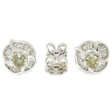 18K White Gold 1.15ctw Fancy Yellow Round Baguette Diamond Flower Stud Earrings