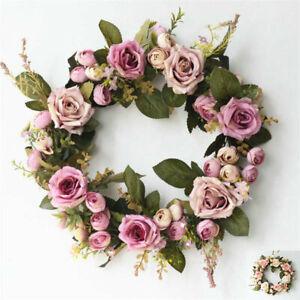Garland Wreath Peony 35cm Door Hanging Artificial Rose Flower