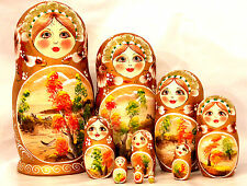 Nature Russian Wooden Nesting Stacking Handmade Doll Matryoshka 10pc H25cm  9.8""
