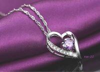 Herzkette Herz Anhänger mit Kette Kristall Lila 925 Silber plattiert Schmuck NEU