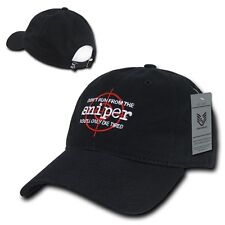 Rapid Relaxed Graphic DRS Don't Run From Sniper Washed Cotton Baseball Caps Hat