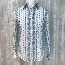 Vtg Top Dress Shirt Button Up 60's 70's Collar Cotton Feedsack Feed Sack Western