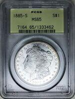 1885-S Morgan Dollar PCGS MS65 Rare Gem in Old Green Holder, Nice Luster!