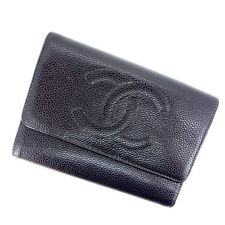 Chanel Wallet Purse Trifold COCO Black Woman Authentic Used Y556