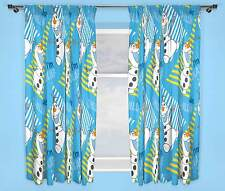 "DISNEY FROZEN OLAF CHILLIN CURTAINS 66"" x 54"" INCH DROP KIDS GIRLS BLUE BEDROOM"