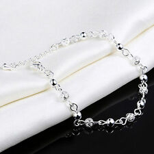 Women Ball Plated Silver Crystal Chain Bangle Cuff Charm Bracelet Jewelry Great