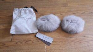 D.Exterior real Fox fur cuffs.RRP £115.Grey.Transform your coat or jacket.