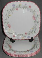 Set (4) Johnson Brothers SUMMER CHINTZ PATTERN Square Salad Plates ENGLAND