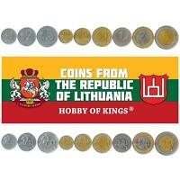 SET 9 COINS FROM LITHUANIA: 1, 2, 5, 10, 20, 50 CENTU, 1, 2, 5 LITAI. 1991-2014