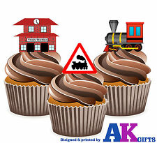 Steam Trains Kids Boys Birthday Party 12 Cup Cake Toppers Edible Decorations
