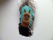 LLAMA, -Hand painted rare turkey feather, by artist W. W. Hoffert