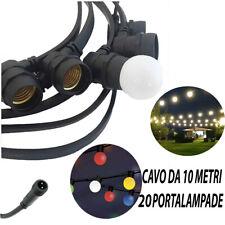 CATENARIA LUCI 10MT E 20 PORTALAMPADE E27 NERA ALLUNGABILE IP65 INTERNO ESTERNO