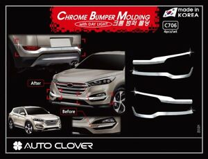 Chrome Front & Rear Bumper Garnish Molding for 2015/August ~ 2018 Hyundai Tucson