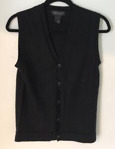 Bloomingdale's Men's Store 100% Merino Wool Black V Neck Sweater Vest Men's Sz S